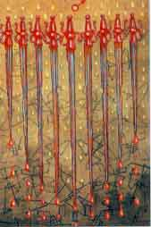 image of ten chipped swords with red hilts dripping blood.